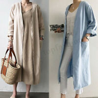 Vintage Women Oversize Open Front Cardigan Casual Plain Jacket Coat Outwear Plus