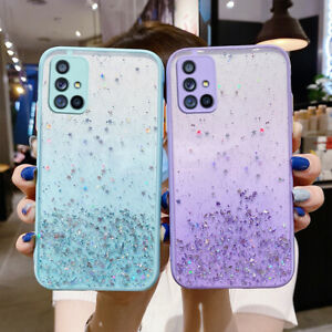 Phone Case For Samsung Galaxy A21S A51 A71 A20S Bling Glitter Foil Clear Cover