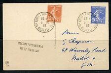 FRANCE 1937  INT'L FAIR MUSELLE  POSTCARD  TO MASSACHUSETTES