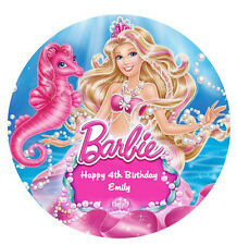 BARBIE MERMAID EDIBLE PREMIUM WAFER PAPER CAKE DECORATION IMAGE PARTY TOPPER