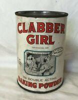 * Vintage Advertising Tin CLABBER GIRL BAKING POWDER TIN 1 LB 9 OZ size tin