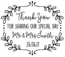Personalised Laser Rubber Stamp - Leaf Frame Wedding Thank You