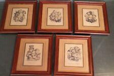 Suite de 5 gravures signées Boilly 1824 caricatures grimaces gourmandise...