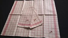 one old unused red checkered linen kitchen Towel