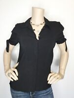 Theory Medium Black Tie Sleeve Button Top Shirt Blouse Short Sleeve