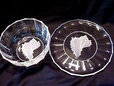 "9"" SERVING BOWL & 12"" PLATTER LNIB 2 pcs INTAGLIO CONCH Frosted Glass SEA SHELL"