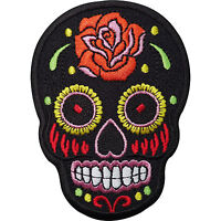 Black Skull Rose Flower Embroidered Iron / Sew On Patch Clothes Badge Transfer