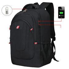 Men Anti-Thief 17.3 Laptop USB Backpack Travel Computer Bag USB Port Waterproof