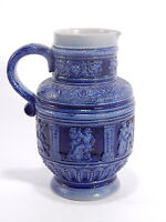 ANTICA CARAFFA CERAMICA BLU MADE IN GERMANY WESTERWALD POTTERY FAIENCE JUG