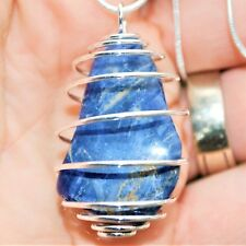 "Brazilian Sodalite Crystal Perfect Pendant™ 20"" Silver Chain ENERGIZING!"