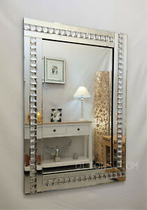Modern Art Deco Acrylic Crystal Glass Design Bevelled Wall Mirror 60x80cm Silver