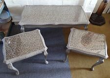 Upcycled Coffee Bean Nest of 3 Glass Topped Coffee Tables