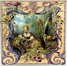 "Salburg Tile Decorative Ceramic Bucolic Pastoral 6"" Hand Made Decorated in UK"