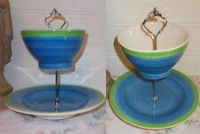 2 TIER TRINKET CAKE STAND DISPLAY BLUE GREEN