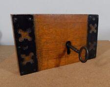 nice 19th century Church Door lock with key Working mounted in wooden block