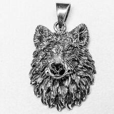 3d Wolf Head Pendant silver Biker Pagan Animal Amulet Viking Fenrir feeanddave