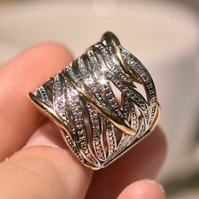 Luxury Multilayer Two Tone White Sapphire Cross Ring 925 Silver Wedding Jewelry