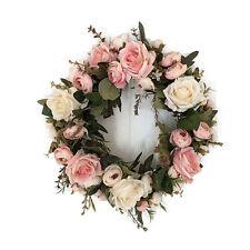 UK Pink Artificial Wreath Rose Flower Garland Door Window Hanging Wedding Decor