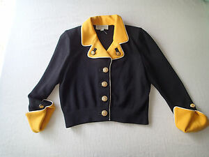 st.john collection BLAZER santana cardigan p jacket,top black,yellowgold buttons