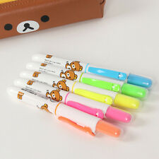6pcs/set Cute Rilakkuma Push Button Knock Highlighter Pen Marker School Supplies