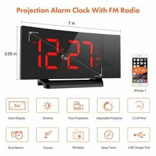Digital Projection FM Radio Alarm Clock Dual Alarm with USB Charging Port