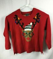 Red Christmas Reindeer Glasses Crew Neck Sweater Ugly 100% Acrylic Size 2X