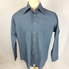 Vintage 1960s 50s Creighton Chambray USN Marines Military Army Denim style Shirt