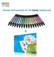Letraset Twintip Promarker SET of 10 choose of 148 colours + 1 comic marker pad