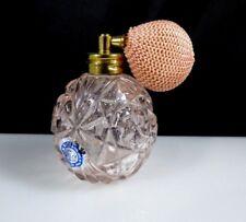 Vintage I.W. RICE Pink Glass Perfume Bottle Atomizer Star Flower Design Japan