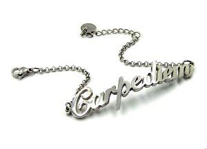 Bracciale da donna in acciaio inox a catena con scritta carpe diem braccialetto