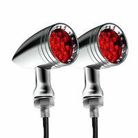 2X Chrome Universal Motorcycle LED Turn Signals Red Brake Running Blinker Lights