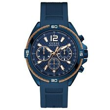 Guess Men's Blue Stainless Steel & Rubber Quartz Watch W1168G4