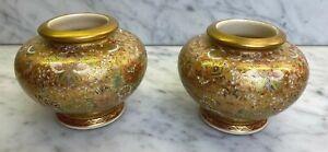 Superb Pair Antique Japanese Meiji Period Signed Satsuma Mille Fleur Vases