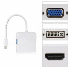 3 in 1 Thunderbolt Mini Displayport to DVI HDMI VGA Adapter Cable MACbook pro