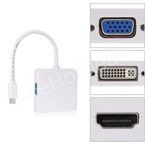 3 in 1 Thunderbolt Mini Displayport to DVI HDMI VGA Adapter Cable MACbook pro