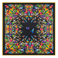 Foulard mode cadeaux noirs oiseaux carrés foulards élégants soie fête femme lady