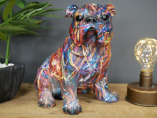 More details for large 22cm colourful painted bulldog lover gift ornament sculpture decoration