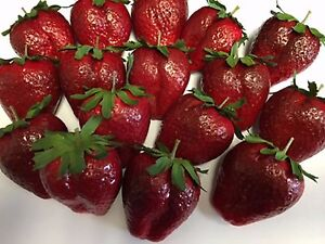Artificial Large Strawberry, Bag of 16 Decorative Fake Fruit Fake Strawberries