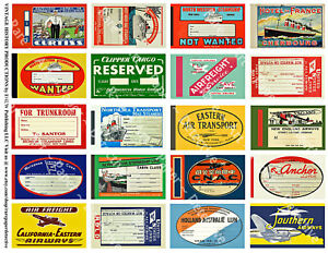 20 AIRLINE & STEAMSHIP STICKERS & Cabin Pass Decal Tags, 1 Sheet, REPRODUCTIONS