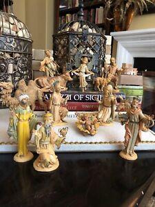 Vintage Gold Washed Spider Marked Depose Italy Fontanini Nativity Set Lot Of 14