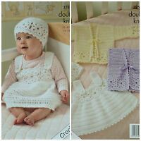 CROCHET PATTERN Baby/Toddlers Jackets, Dress and Hat DK King Cole 3251