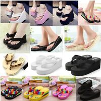 Women Wedge Flip Flops Thick Platform High Heel Slippers Thong Sandals Shoes