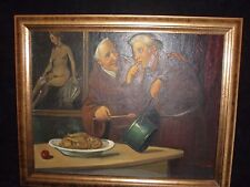 VINTAGE PAINTING ON BOARD OF TWO MONKS IN THEIR KITCHEN