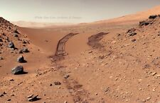 Poster Print: 24 x 36: Mars Curiosity Rover: Tracks Through Dingo Gap, 2/9/2014