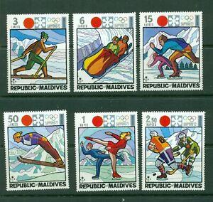 ,Maldive Islands  #395-400 (1972 Winter Olympics set) VFMNH CV $8.15