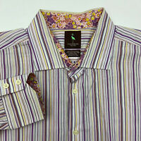 Tailorbyrd Button Up Shirt Mens XXL Multicolor Stripe Long Sleeve Casual 2XL