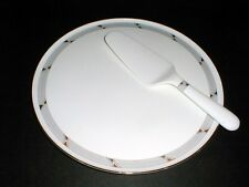 Daniel Hechter Paris Bone China #CQ013 GOLD PLATINUM Cake Plate & Server/Lifter