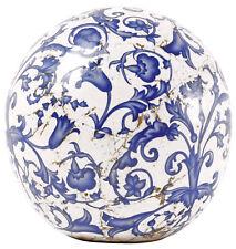 Aged Ceramic Durchmesser 12 cm Dekokugel weiss-blau Garten Landhausstil NEU OVP