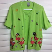 Berek Womens Cardigan Green Flamingo Short Sleeves I Love Shopping Sweater L