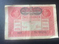 2 Ket Korona Austria Hungary Banknote 1917 Bank Note WWl Deutschosterreich